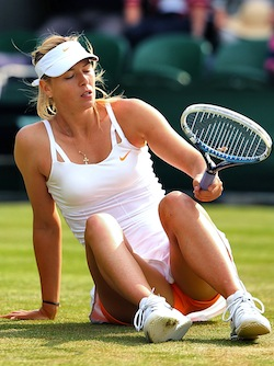 Court Number Two forces Maria Sharapova to sit on it