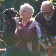 Old couple with dogs