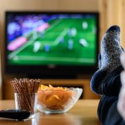 watching football on tv